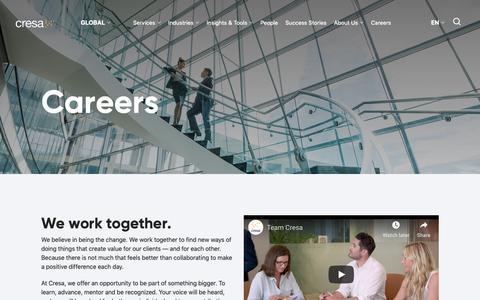 Screenshot of Jobs Page cresa.com - Careers -  Cresa - captured Nov. 5, 2018