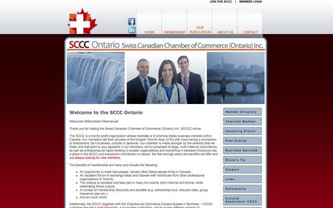 Screenshot of Home Page swissbiz.ca - Swiss Canadian Chamber of Commerce -- Homepage - captured Oct. 6, 2014