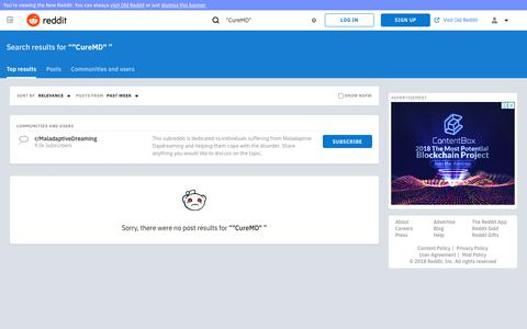"reddit.com: search results - ""CureMD""+"