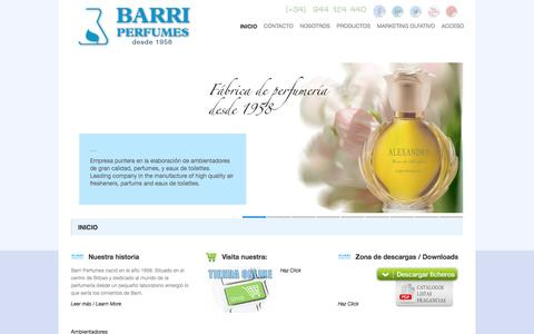 Screenshot of Home Page barriperfumes.es - BARRI PERFUMES. Ambientadores Barri Perfumes. Fabrica de ambientadores y perfumes - captured May 25, 2017