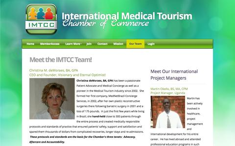 Screenshot of Team Page imtcc.org - International Medical Tourism Chamber of Commerce - Our Team - captured Oct. 3, 2014