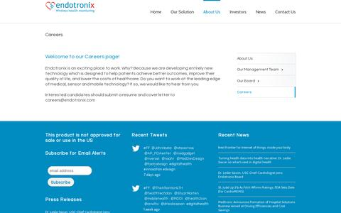 Screenshot of Jobs Page endotronix.com - Endotronix Wireless Health Monitoring for Heart Failure Management   –  Careers - captured July 19, 2014