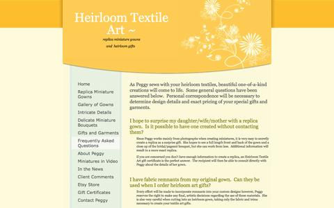Screenshot of FAQ Page heirloomtextileart.com - Heirloom Textile Art - Frequently Asked Questions - captured Sept. 29, 2014