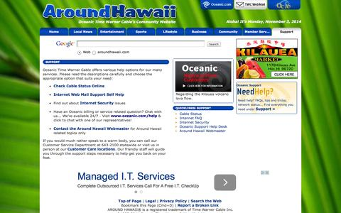 Screenshot of Support Page aroundhawaii.com - Oceanic Support, Network Status, Cable Status, Road Runner Help, Contact Us | AroundHawaii - captured Nov. 3, 2014