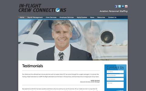 Screenshot of Testimonials Page inflightcrewconnections.com - Testimonials | | Inflight Crew Connections| Inflight Crew Connections - captured Oct. 24, 2014