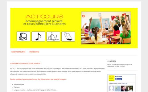 Screenshot of Home Page acticours.uk - Acticours   Cours particuliers et aide aux devoirs - captured Oct. 4, 2014