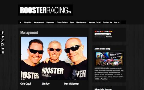 Screenshot of Team Page roosterracing.org - Management  : ROOSTER RACING DO GOOD. RIDE HARD. LIVE WELL. - captured Oct. 26, 2014