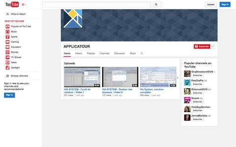 Screenshot of YouTube Page youtube.com - APPLICATOUR  - YouTube - captured Oct. 23, 2014