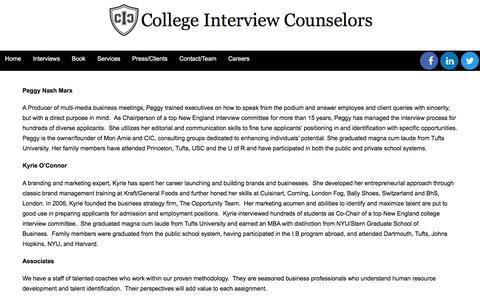 Screenshot of Team Page collegeinterviewcounselors.com - Team - College Interview Counselors - captured Nov. 9, 2016