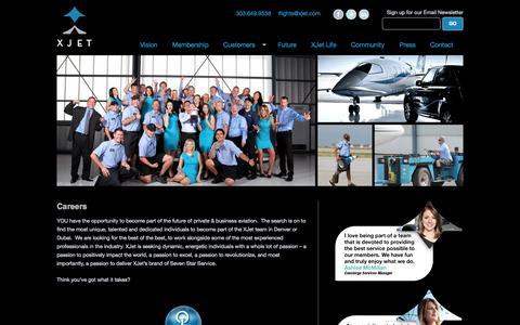 Screenshot of Jobs Page xjet.com - Aviation Club | Private Jet Denver | Luxury Membership | XJet - captured Oct. 3, 2014
