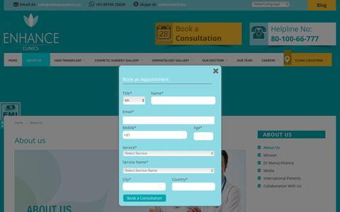 Screenshot of About Page enhanceclinics.in - Hair Transplant Fut in Delhi ,FUT Hair Transplant Mumbai - captured July 13, 2018