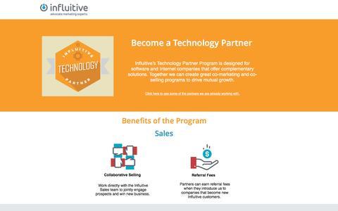 Screenshot of Landing Page influitive.com - Become a Technology Partner   Influitive - captured Oct. 2, 2016