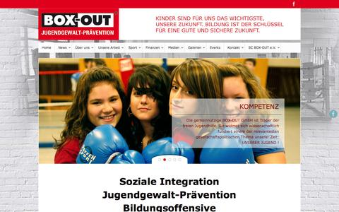 Screenshot of Home Page box-out.de - BOX-OUT Jugendgewaltprävention in Hamburg - Box Out - Jugendgewalt Prävention Hamburg - captured Sept. 5, 2015
