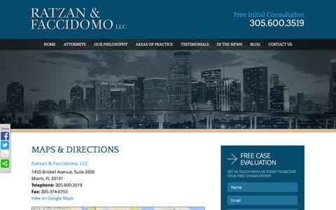 Screenshot of Maps & Directions Page rflawgroup.com - Maps & Directions |  Ratzan & Faccidomo LLC - captured Oct. 27, 2014