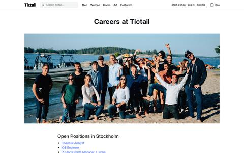Screenshot of Jobs Page tictail.com - Careers at Tictail • Tictail - captured April 1, 2017