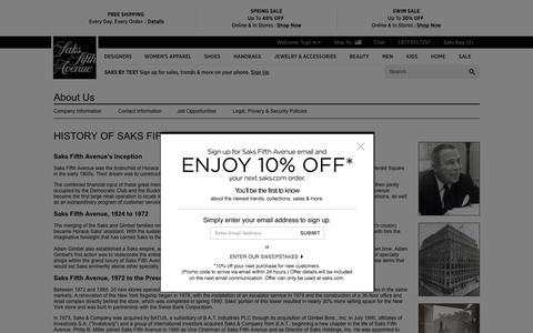 Screenshot of About Page saksfifthavenue.com - Saks.com History - captured May 15, 2016