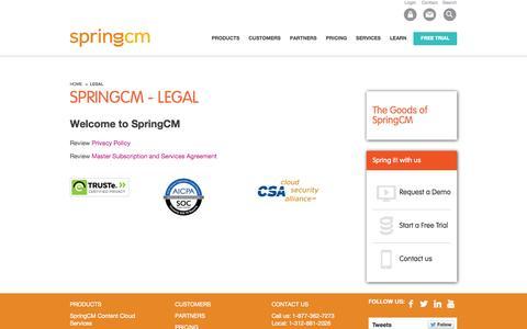 Screenshot of Terms Page springcm.com - Legal | SpringCM - captured Sept. 17, 2014