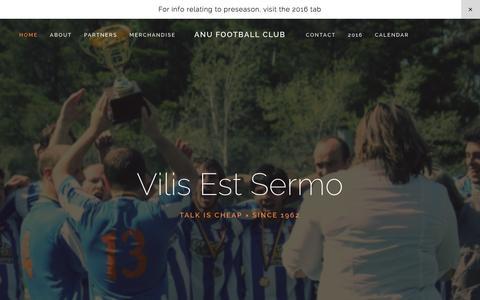 Screenshot of Home Page anufc.org.au - ANU Football Club - captured Feb. 4, 2016