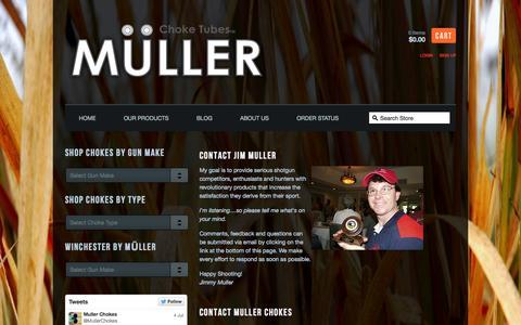 Screenshot of Contact Page mullerchokes.com - Muller Chokes — Contact Us - captured Oct. 9, 2014