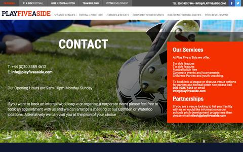 Screenshot of Contact Page playfiveaside.com - Contact | Play 5 a Side - captured Nov. 5, 2018
