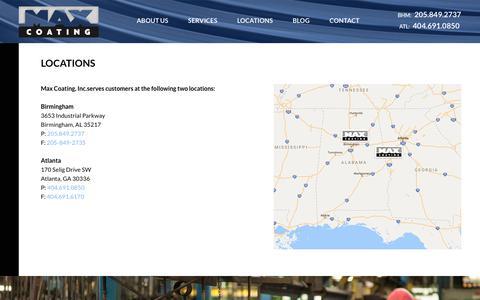 Screenshot of Locations Page maxcoating.com - Max Coating Locations | Birmingham, AL and Atlanta, GA - captured Sept. 20, 2018