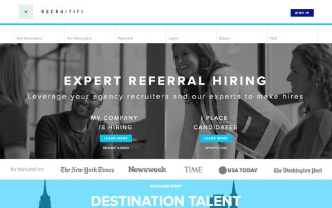 Screenshot of Home Page recruitifi.com - On-Demand Recruiting Software - Recruiting Solutions - captured Jan. 30, 2017