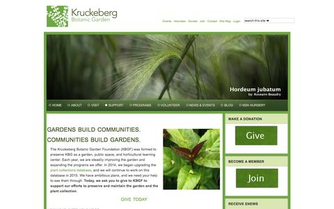 Screenshot of Support Page kruckeberg.org - SUPPORT - captured Feb. 12, 2016