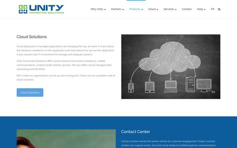 Screenshot of Products Page unityconnected.com - Unified Communications Solutions, Hosted PBX Solutions, IP Telephony - captured Oct. 20, 2018