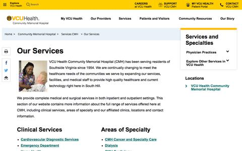 Screenshot of Services Page vcuhealth.org - Our Services  - Virginia Commonwealth University Health System | VCU Health - captured July 1, 2018