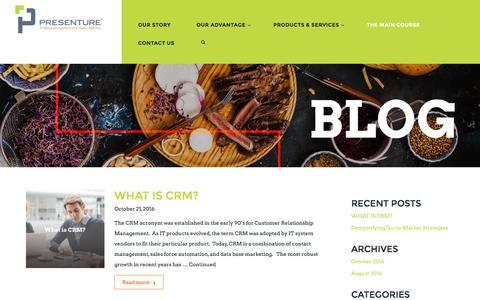 Screenshot of Blog presenture.com - The Presenture Blog | Current Foodservice Trends & News - captured Nov. 11, 2016