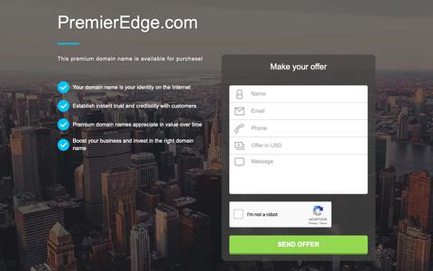 Screenshot of Home Page premieredge.com - PremierEdge.com domain name is for sale. Inquire now. - captured Sept. 29, 2018