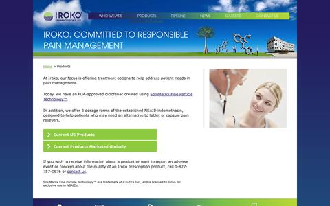Screenshot of Products Page iroko.com - Products |     Iroko Pharmaceuticals - captured Sept. 16, 2014