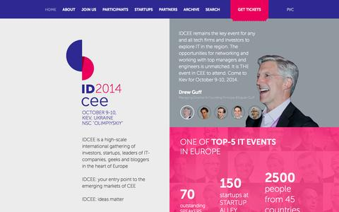 Screenshot of Home Page Menu Page idcee.org - IDCEE 2014 Conference – startups from all over the world - captured Sept. 19, 2014