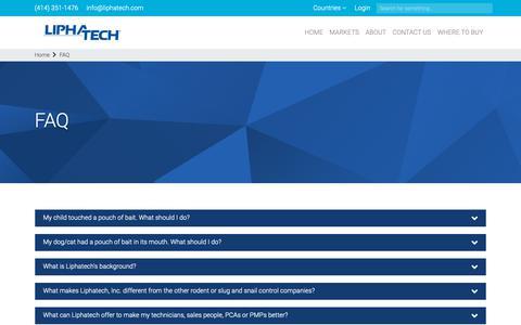 Screenshot of FAQ Page liphatech.com - FAQ - captured Dec. 15, 2018