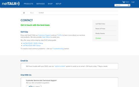 Screenshot of Contact Page nettalk.com - Contact - netTALK - captured July 20, 2014