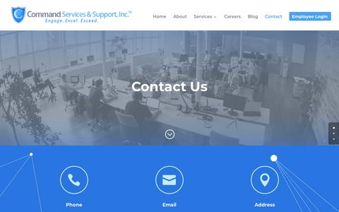 Screenshot of Contact Page cmdss.com - Cyber Security, Project Management, IT for Federal & Commercial Clients   Contact   Command Services & Support, Inc. - captured Sept. 29, 2018