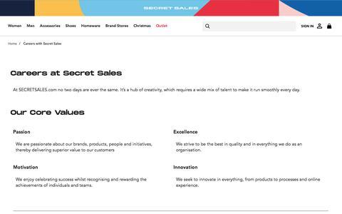 Screenshot of Jobs Page secretsales.com - Careers with Secret Sales - captured Nov. 26, 2019
