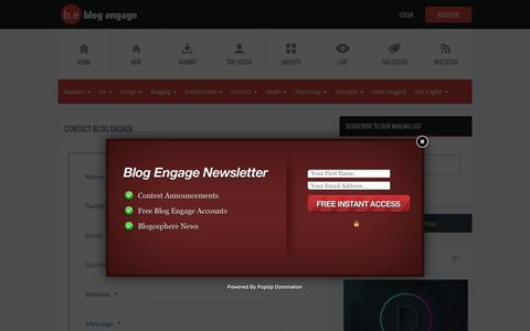 Screenshot of Contact Page blogengage.com - Contact Blog Engage | Blog Engage Blog Traffic - captured July 29, 2016