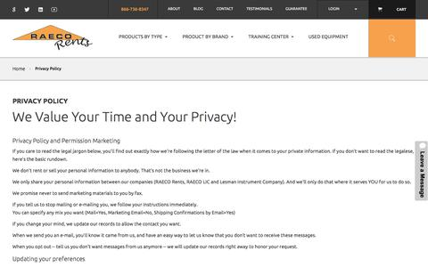 Screenshot of Privacy Page raecorents.com - Privacy Policy  | RAECO Rents - captured June 18, 2017