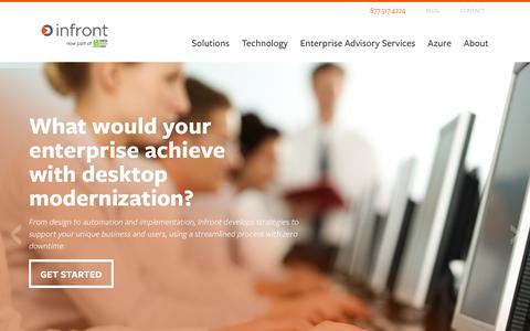 Screenshot of Home Page infrontconsulting.com - Infront Consulting   Enterprise Advisory Services, IT Solutions, Cloud Automation - captured July 21, 2018