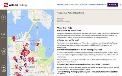 Screenshot of FAQ Page wilsonparking.com.au - Wilson Parking Australia - captured Nov. 16, 2016