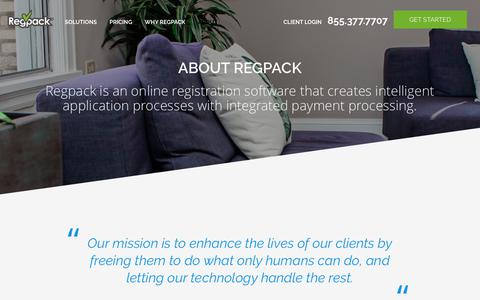 Screenshot of About Page regpacks.com - About Regpack | Learn More about Regpack Registration Software - captured Nov. 18, 2018