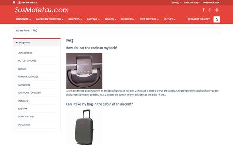 Screenshot of FAQ Page susmaletas.com - FAQ | Sus Maletas - captured June 4, 2016