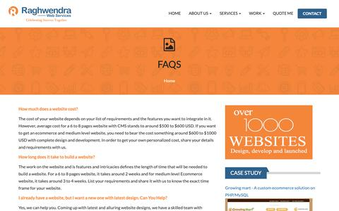 Screenshot of FAQ Page raghwendra.com - FAQs - captured Dec. 20, 2018