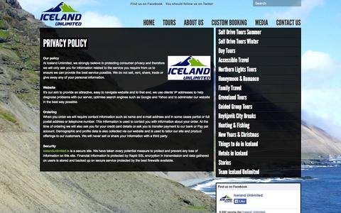Screenshot of Privacy Page icelandunlimited.is - Privacy Policy « Iceland Unlimited Iceland Unlimited - captured Oct. 6, 2014