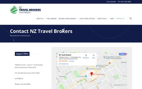 Screenshot of Contact Page nztravelbrokers.co.nz - Contact Us | NZ Travel Brokers - captured Sept. 21, 2018