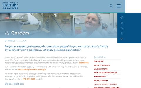 Screenshot of Jobs Page bcfr.org - Careers | Boone County Family ResourcesBoone County Family Resources | We help people with developmental disabilities thrive, connect, and achive - captured Nov. 23, 2016