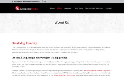 Screenshot of About Page smalldogdesign.ca - About Us | Small Dog Design - captured July 23, 2016