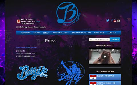 Screenshot of Press Page bellyupaspen.com - Press - Belly Up Aspen - captured Aug. 1, 2018