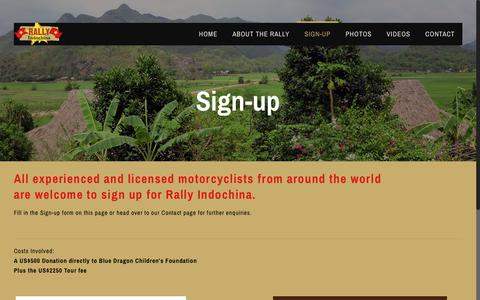 Screenshot of Signup Page rallyindochina.com - Sign-up - Rally Indochina - captured Nov. 12, 2017